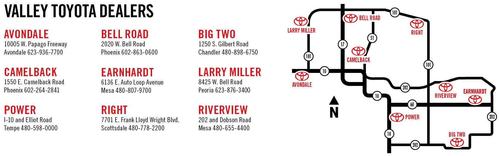 Valley Toyota Dealers map (click to enlarge)